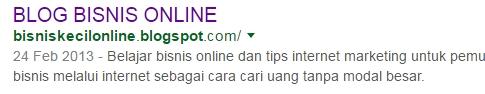 deskripsi penelusuran terlihat di google