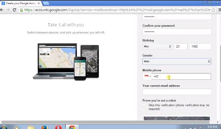 Screenshot form akun gmail