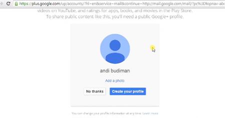 gambar akun google selesai dibuat