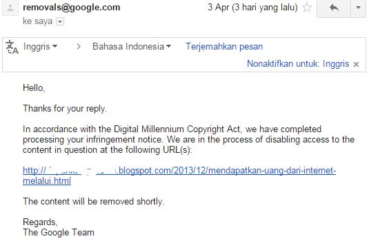 Screenshot keputusan google tentang DMCA yang saya ajukan