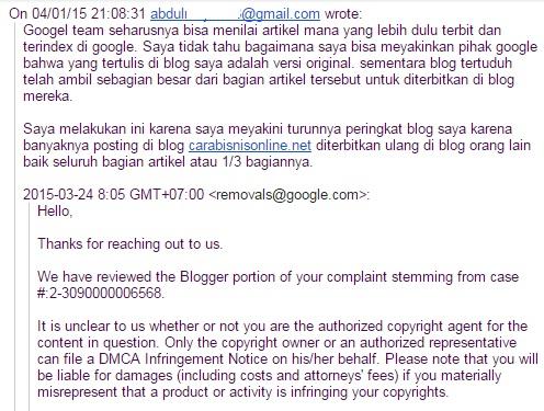 screenshot komplain saya ke google